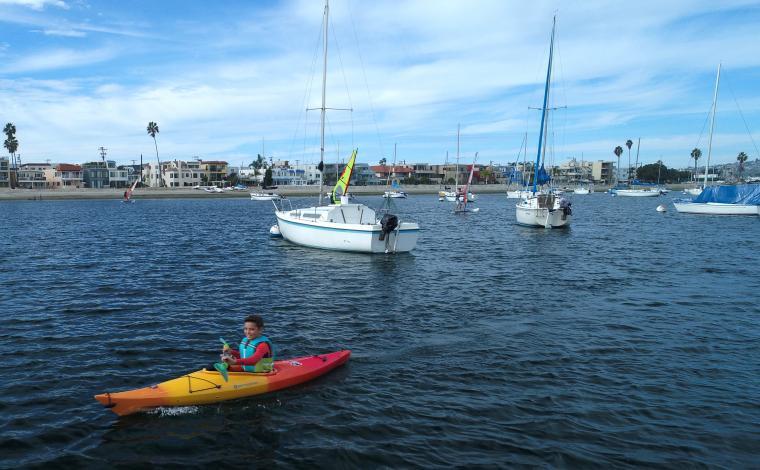 boy in kid-friendly kayak